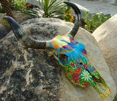 """Bull painting skull """"Freebird"""" (SOLD)"""