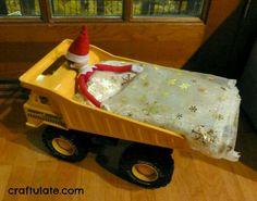 Sleeping on a dump truck elf