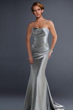 Strapless Satin Trumpet Beaded Evening Dress ( Tailor-made)