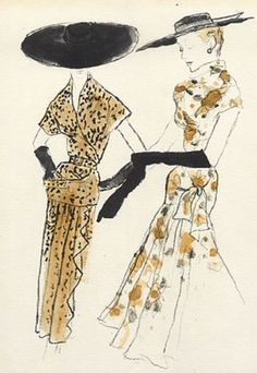 Fashion illustration by Bernard Blossac, 1953, Germaine Lecomte Couture (left)…