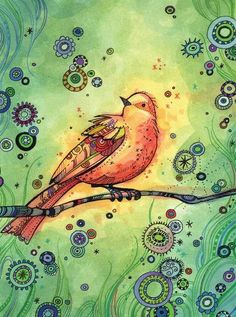 .I like how the contrasting colors in this painting make the bird look like it is glowing.