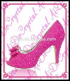 Aidocrystal custom fuchsia pearl peep toe bowknot bridal shoes sexy 10cm wedding high heels for bride