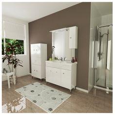 MOON-N 105 KOMPLETT FÜRDŐSZOBABÚTOR 106X193X50CM FEHÉR JOBBOS LED Led, Bathtub, Mirror, Bathroom, Furniture, Home Decor, Standing Bath, Washroom, Bathtubs