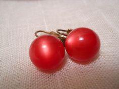 Red Moonglow Vintage Clip On Stud Earrings!