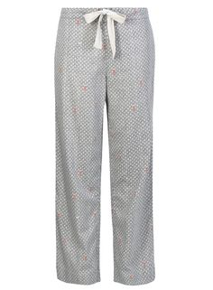 pull on Pyjama bottoms in 'Port In A Storm' print - blue with wales and lighthouses, seascape. Perfect Sunday loungewear.