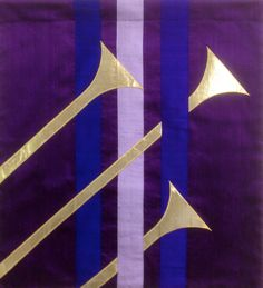 Advent Trumpet Parament of silk dupioni and gold lame.'
