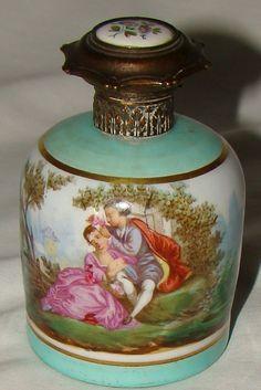 Antique Paris Porcelain Dresden Courting Scenes Scent Perfume Bottle | eBay