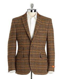 CLASSIC Aquascutum Rustic Brown Plaid Ticket Pocket Wool 40 R mens