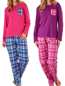 85472522f5 These ladies pyjamas sets by Slenderella include a long sleeved plain  jersey top with a chest