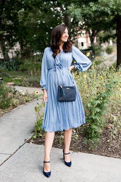 343079a9c2 Baby Blue Silk Dress | Little J Style Blue Silk Dress, Sweet Dress, Street