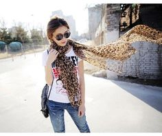 Super Long Leopard Pattern Real Silk Scarf Wrap for Women Lady Girl Leopard Print Scarf, Print Chiffon, Women Brands, Shawls And Wraps, Scarf Styles, Womens Scarves, Adulting, The Ordinary, Ideias Fashion