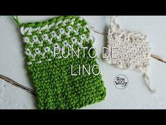 Aprende el Punto de Lino en uno y dos colores (dos agujas) - YouTube
