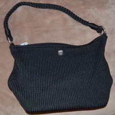 "EUC Black crochet shoulder bag by Lina 13x5x9 12"" strap. $5.50 BIN $10. Sold for $4"