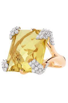 Sortija de oro rosa, diamantes y cuarzo amarillo, de Casato