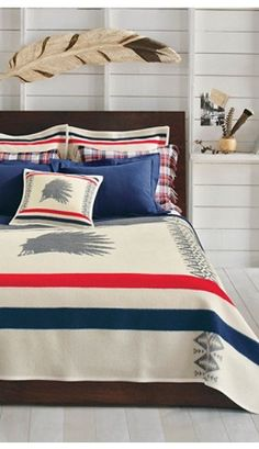 Pendelton Heroic Chief Bedding     A striking silhouette of a Native American Chief is the central image of this unique, circa 1920s design. The feathered headdress was a ceremonial war bonnet worn only by chiefs and warriors.