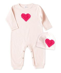 Love this Blush Heart Playsuit & Beanie - Infant on #zulily! #zulilyfinds