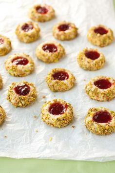 italian thumbprints - a thumbprint with strawberry jam, pistachios and chocolate. They are divine!