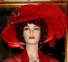 Kentucky Derby Hat Edwardian Hat Tea Hat Designed by Darna Run for the Roses Crystal Fairy Red     $209.00