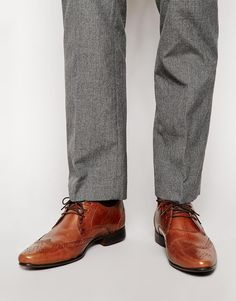 Image 1 ofASOS Brogue Shoes in Leather