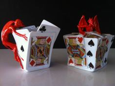 Royal Bayreuth devil and playing cards cream and sugar.  I have always wanted to collect these pieces.
