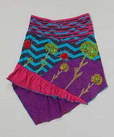 Purple & Turquoise Floral Hi-Low Skirt