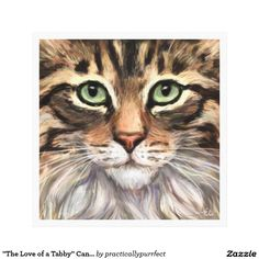 """Aww! Cute! It looks so real. (Original text: """"The Love of a Tabby"""" Canvas Print by Practically Purrfect)"""