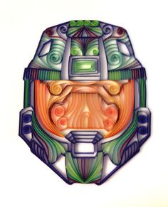 Quilled gaming artHalo Master Chief Helmet by AliaDesign on Etsy, $200.00