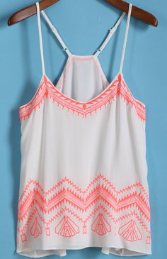 White Spaghetti Strap Embroidered Chiffon Cami Top