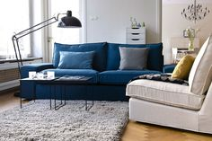 Lazy Ways To Make Your Ikea Furniture Look Expensive #refinery29  http://www.refinery29.uk/ikea-furniture-look-expensive-hacks-superfront#slide-7  Hack #4: Petrol Blue SofaIkea Kivik Three-Seat Sofa, £425+Belgian Linen Blend Kivik Cover, Deep Navy Blue, £419= £844...