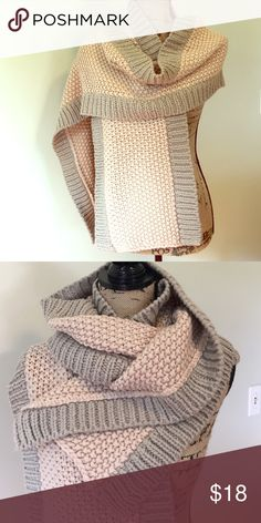 Ann Taylor Chunky Scarf Lovely light pink and grey chunky knit scarf from Ann Taylor - very thick and warm. Never used, in excellent condition. The grey edging is almost a light tan color - could go with almost anything this winter ❤️ Ann Taylor Accessories Scarves & Wraps