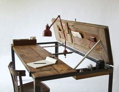 Office & Workspace, Modern Furniture Design Ideas With Repurposed Door Desk Design Ideas With Red Desk Lamp Ideas For Home Office Design Ideas: Fascinating Home Office Interior Design