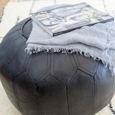 Leren poef, zwart, Ø51 x 46 cm   Home at Home