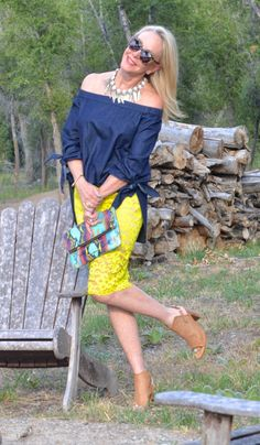 Shoulders are a great over 40 assets according to Sheree from SheShe Show. Show them off with an off the shoulder top.