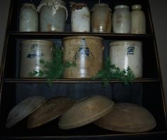 Cupboard With Crocks and Bowls