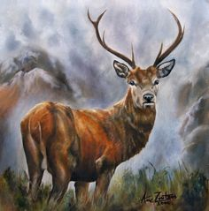 King Of The Glen - NOW SOLD Original Oil Scottish Red Deer Stag, painting by artist Anne Zoutsos