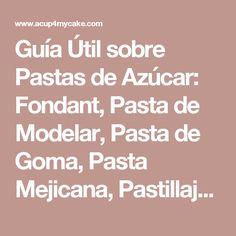 Guía Útil sobre Pastas de Azúcar: Fondant, Pasta de Modelar, Pasta de Goma, Pasta Mejicana, Pastillaje…   ACup4MyCake