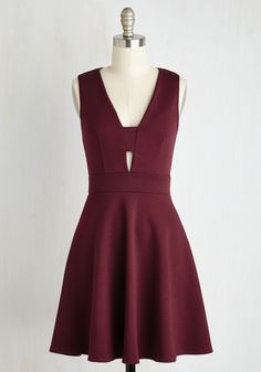Second Date Delight Dress. After the swoon-worthy success of your first encounter, you excitedly agree to reconvene with your new sweetheart in this flirty burgundy A-line. #red #modcloth