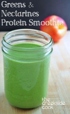 Greens & Nectarines Protein Smoothie on The Creekside Cook #bestsmoothie #vegasmoothie