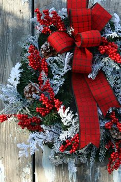 Christmas Wreath Plaid Ribbon Snow Cedar by sweetsomethingdesign