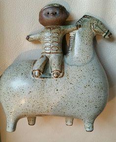 Mid Century Sweden Pottery Figurine Boy Horse Gustavsberg Lisa Larson Lindberg