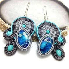 Blue soutache earrings with royal jasper