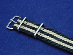 20mm NATO Black & Tan Watchstrap Band Prem Balistic Nylon Bonded IW SUISSE…