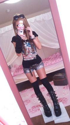 Kawaii punk gyaru fashion. The shorts are so short they look like denim undies... So no to them. Yes to the rest of the outfit :)