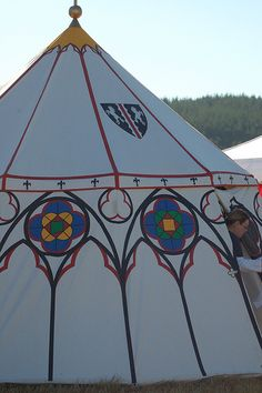 Tent painting ~ This is a great idea for decorated and easy Medieval pavilion tents.
