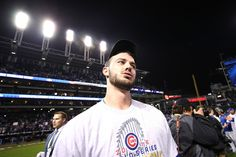 Kris Bryant #17 of the Chicago Cubs reacts after defeating the Cleveland Indians 8-7 in Game Seven of the 2016 World Series at Progressive Field on November 2, 2016 in Cleveland, Ohio.