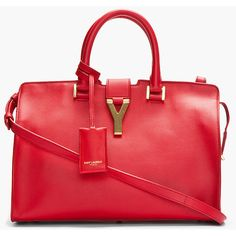 SAINT LAURENT Red Leather Ligne Y Chyc Tote found on Polyvore