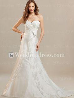 Organza Pleated Sweetheart Wedding Dress DE292