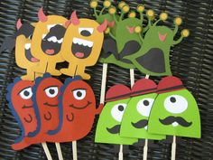 Monster Mania birthday cupcake toppers by OnceUponaScrap on Etsy, $7.50