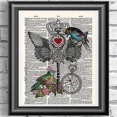 Art print on #dictionary #antique book page #birds crown love key,  View more on the LINK: http://www.zeppy.io/product/gb/2/351729006219/