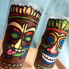 Tiki Shot Glasses Set of Two Hand Painted Shot Glasses Drinkware, Barware, Tiki Faces, Tiki Statues, Shot Glass Set, Jimmy Buffett, Diy Art Projects, Painted Boards, Clean Dishwasher